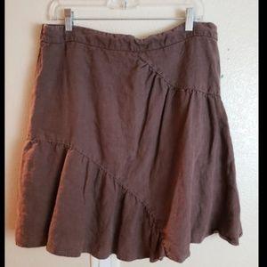 Anthropologie Elevenses Brown Ruffle Linen Skirt
